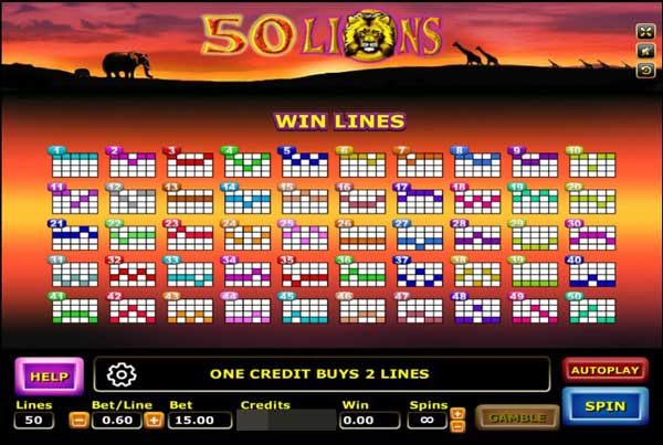 Win lines 50 lions